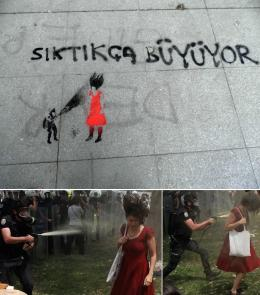The more you press, the bigger it gets, stencil, Gezi Park, 4-06-2013; photo Christiane Gruber; Woman in Red; photos by Osman Orsal