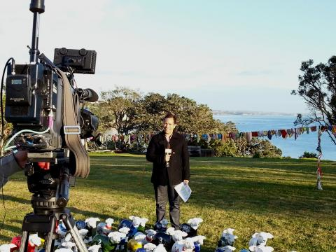 TV One Breakfast Show weather crosses to promote NZ Sculpture OnShore 2012; photo by Rob Garrett