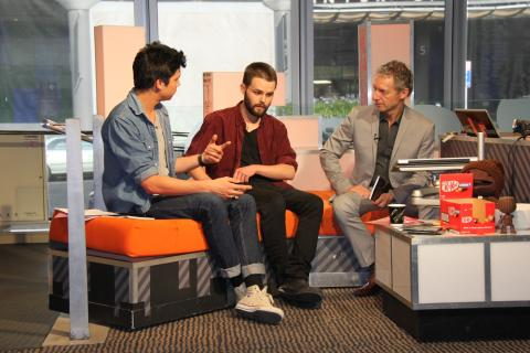 U Live host Tim, with James (Snake Pit) and Rob (Curator), live-to-air 25 October 2012